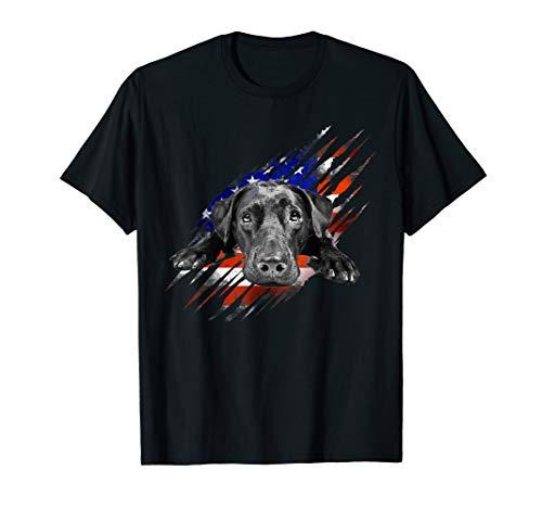 Black Labrador USA Flag Lab Owner Bird Duck Hunter Gift T-Shirt