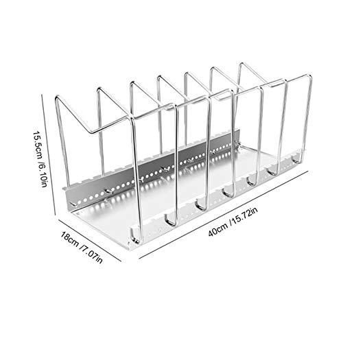 FICI Duurzaam keukendekselrek Snijplankhouder Standaard Keukenorganisator Dubbele rekken Plank Roestvrijstalen plank Panrek, groot formaat