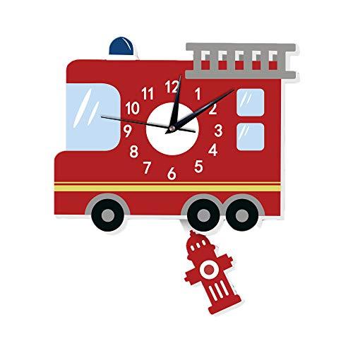 Martin Kench Kinder Wanduhren, 3D Motiv Wand-Deko Cartoon Wohnzimmer stille Uhr Dekoriertes Kinderzimmer Wohnzimmer (Feuerwehrauto)