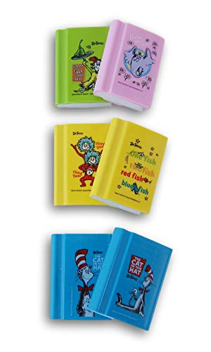 School Fun Dr. Seuss Books Erasers -Doll-Sized (Cat in The Hat, Green Eggs & Ham, Horton, 1 Fish 2 Fish, Thing 1 Thing 2) - 6 Pieces