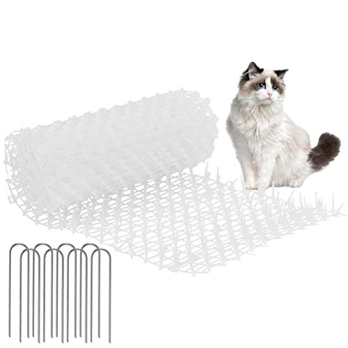 N\A Katzen-Abwehrstreifen Tier-Barriere 30cmX2m Tiervertreiber Katzenabwehr Katzenschreck Tierschreck mit U-förmiger Nagel weiß