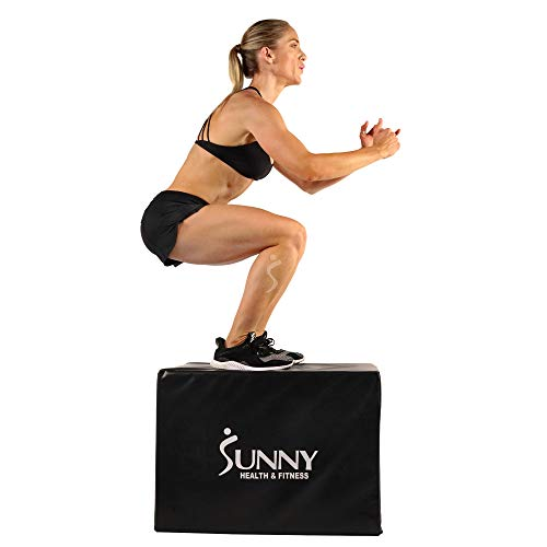 Sunny Health & Fitness Plyo Box Jump Platform with Adjustable Heights 20'/24'/28' and Shock Absorbing Foam Cover, 3-in-1 Plyometric Jump Box - No. 072