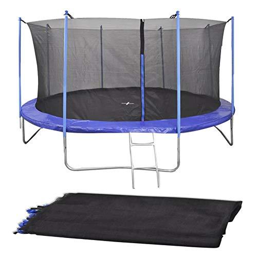 EBTOOLS - Trampolino per Bambini, Tappeti Elastici da Giardino, Trampolino Elastico Rotondo con Rete di Sicurezza con Bordo Rinforzato, 3,8 x 1,8 m (Pali Non Inclusi)