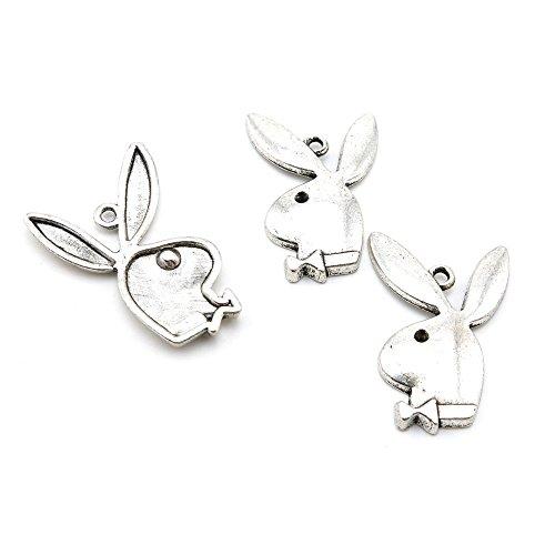 5 PCS Jewelry Making Charms X8KR0U Playboy Rabbit Antique Silver Tone Necklace Bracelet Repair Bulk Lots Pendant Findings
