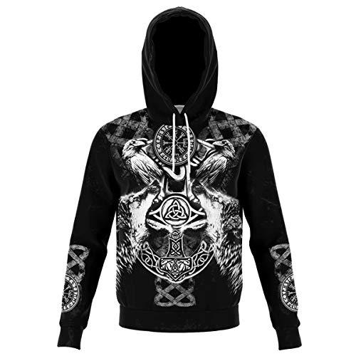 AQzxdc Viking Norse Mythology Tattoo Sweatshirt, 3D Digital Printing Odin Thor's Hammer Totem, Unisex Pocket Long Sleeve Couple Casual Hoodie with Big Pocket,Ravens,5XL
