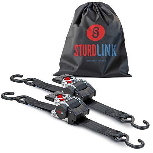 Sturdlink x2 Juego de Correas de Amarre con trinquete de 50mm con enrollador de Correa automático Longitud 3m, LC 1500 Dan en U Ganchos S, Ideal para fijación Remolque, Moto, Quad
