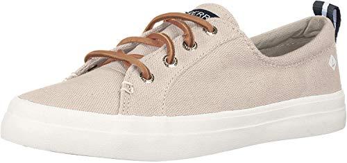 Sperry womens Crest Vibe Linen Sneaker, Oat, 8.5 Wide US
