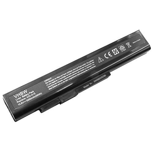 vhbw Akku passend für Medion Akoya E6234, E7201, E7220, E7221, E7222, P6634, P6816 Notebook (5200mAh, 10,8V, Li-Ion, schwarz)