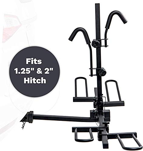 "KAC E2 1.25"" and 2"" Hitch Receiver Mount Bike Rack Carrier 2-Bike Capacity for Truck, SUV, and Car - Platform Tray Style, Compact Folding Design - (Adapter Included) – RV Use Prohibited"