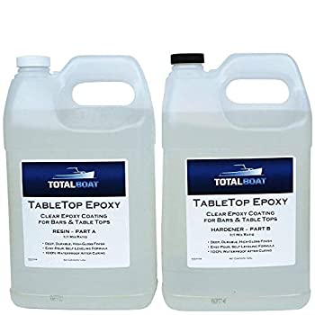 TotalBoat-519708 Epoxy Resin Crystal Clear - 2 Gallon Epoxy Resin & Hardener Kit for Bar Tops Table Tops & Countertops   Pro Epoxy Coating for Wood Concrete Art