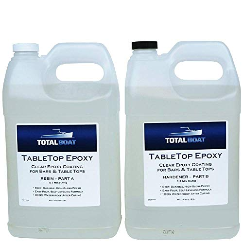 TotalBoat-519708 Epoxy Resin Crystal Clear - 2 Gallon Epoxy Resin & Hardener Kit for Bar Tops, Table Tops & Countertops | Pro Epoxy Coating for Wood, Concrete, Art