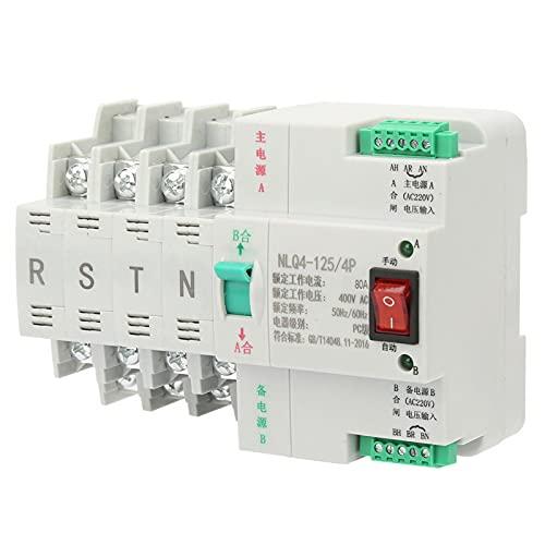 Interruptor de transferencia automática de doble potencia, interruptor de transferencia dual Interruptor de palanca de transferencia automática estable y sin ruido para fuente de(80A)