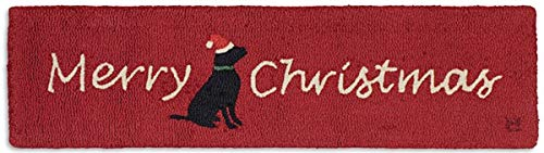 Chandler 4 Corners Artist-Designed Merry Christmas Lab Hand-Hooked Wool Hearth Rug (1' x 4')