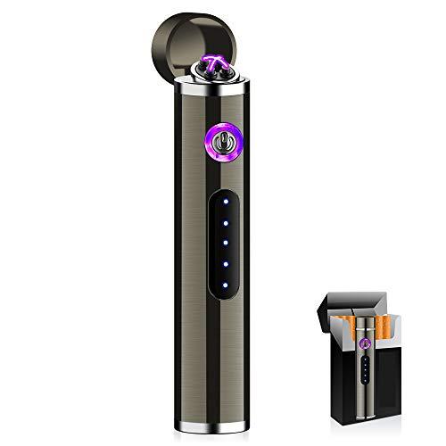 KIPIDA Mini Mechero Electrico, Encendedor Electrico de Doble Arco sin Llama, USB...