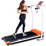 ANCHEER Folding Treadmill, 12 Preset Programs, Electric Foldable Treadmills with LCD Monitor Motorized & Pulse Grip, Indoor Walking Running Exercise Machine Trainer for Home Gym Workout (Orange)