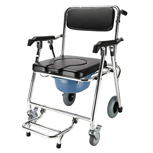 ACZZ Commode Mobile Stuhl, Toilettenstuhl mit Rädern, Sitzduschstuhl, klappbarer mobiler Stuhl, für ältere Menschen mit Toilette