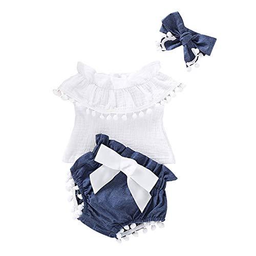 Kobay Frühling und Sommer Neugeborene Baby Girl ärmellose Quasten Tops + Shorts + Stirnband Baumwolle Set Outfit