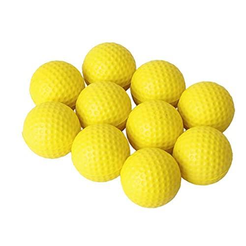 LAANCOO Praxis Golfbälle PU Golfball weicher Dimp Elastic Indoor Outdoor Training Soft Foam Golfbälle Gelb 10pcs Sports Werkzeuge