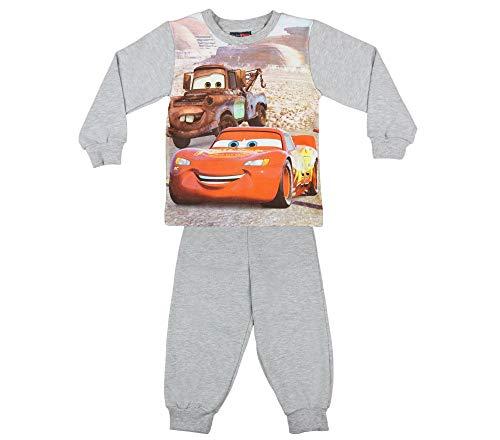 Jungen Pyjama 2-teilig von Cars in GRÖSSE 86, 92, 98, 104, 110, 116, 122, 128 in Weiss und blau, Sweat-Shirt Langarm mit Motiv und Langer Hose, Schlaf-Anzug zum Wohlfühlen Größe 104