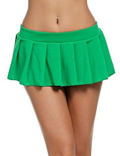 Avidlove Women Sexy Role Play Pleated Mini Skirt Ruffle Lingerie for Schoolgirl Green