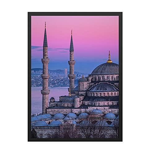 Europa edificio lienzo pintura castillo religioso paisaje urbano puesta de sol carteles cuadros de pared para la decoración de la sala de estar decoración del hogar 50x70cm sin marco