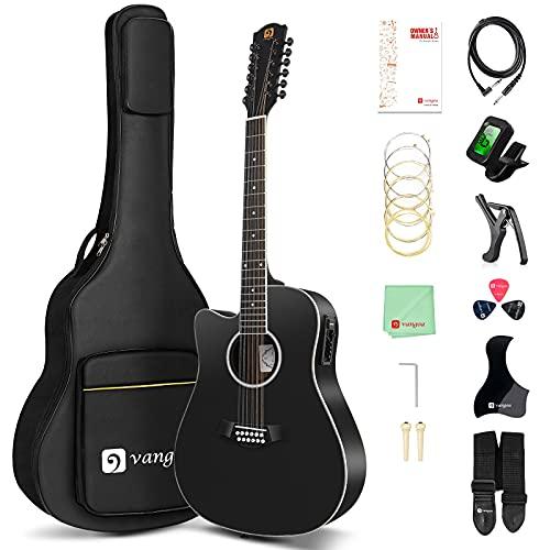 Vangoa LEFT-HANDED 12 String Guitar, Acoustic-electric Cutaway Guitar Bundle, Spruce...