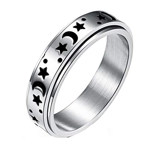 nylry Titanium Stainless Steel Spinner Rings Moon and Star Fidget Ring Stress Relieving Anxiety Ring...