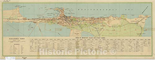 Historic Pictoric Map : Alexandria, Egypt 1951 2, Guide Plan of Alexandria, Antique Vintage Reproduction : 24in x 10in