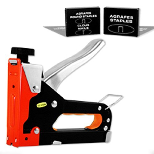 ESKALEXHeavy Duty Three Way Staple Gun w/Staples And A must have staple gun for picture framing. Secures the artwork, glass and backing board in the frame. Flat metal tabs are flexible and allow
