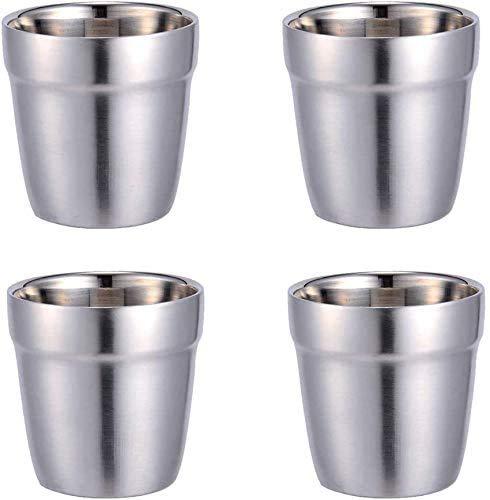 Taza de Acero Inoxidable - Set de 4 Apilable, Taza de Café/Taza de Té/Vasos de Cerveza para Enfriar, ideal para Viajes, al Aire Libre, Camping y Todos Los Días (Plata-1)