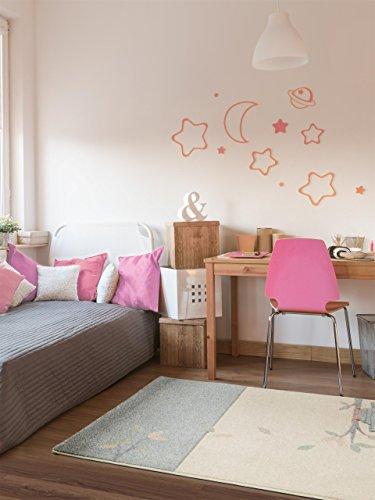 benuta Kinderteppich Justin Eule Beige/Blau 120x170 cm Spiel-und Kinderzimmer Teppich, Kunstfaser, 120 x 170 cm