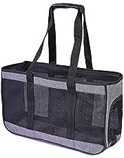 GLJYG Pet Carrier Cat Dog Bag Zachte handtas Lichtgewicht reistas voor huisdieren Ademend Perfect voor katten en kleine honden, Gray-L