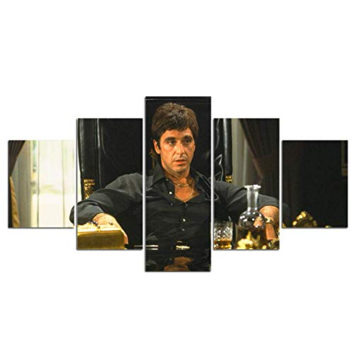 nr Canvas schilderij 5 stuks Scarface film HD Print Kunst Poster schilderij kunstwerk muurkunst schilderijen Posters Home Decoration 40x60 40x80 40x100 cm zonder grenzen
