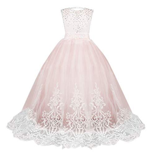 YWLINK Spitze Abendessen MäDchen Prinzessin Brautjungfer Festzug Tutu TüLl ÄRmellos Festival Kleiden Elegant Maxi Kleid Party Hochzeitskleid(Rosa,160)