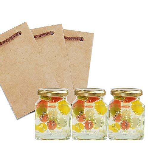 ふみこ農園 プチギフト 退職 お礼 子供 お返し 果汁たっぷり フルーツゼリーボールコンポート ミックス 食べきりサイズ (3個クラフト袋小)