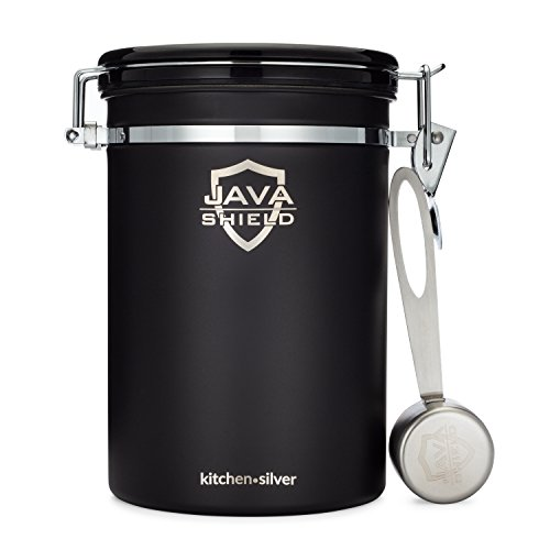 Java Shield Black Coffee Container – Airtight Canister with co2 Valve for Freshness – Large Stainless Steel Container with Scoop - Keep Beans and Ground Coffee Fresh Longer – Built-In Calendar Wheel