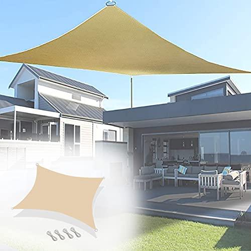 Los 5.5x5.6m Toldo de Lluvia,PéRgola de ProteccióN Solar,Bloqueo UV Carpa para Camping,para Exterior JardíN Terraza ReunióN,con Poste de Hierro y Cuerda de Viento,Beige