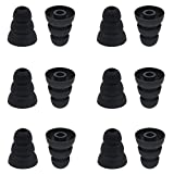 BLLQ 6 Pairs Replacement Triple Flange Conical Ear Tips Earbuds Eartips Silicone Buds for Most in Ear Headphones (Sony Senso Powerbeats Jaybird etc.) Black [S/M/L 3 Size] (3flange Tips 3)