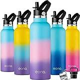 Eono by Amazon- Botella de Agua Isotérmica 750ml Reutilizable con Aislamiento al Vacío con Doble Pared de Acero Inoxidable,Pajilla y 3 Tapas,Sin BPA,Ideal para IR al Gimnasio,al Colegio,al Trabajo