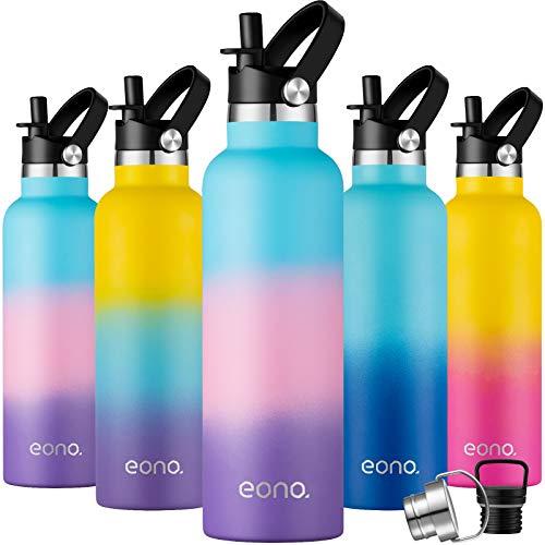 Eono by Amazon - Trinkflasche Edelstahl 750ml, Vakuumisolierte Wasserflasche mit Strohhalm und 3 Deckeln, Einzigartige Bunte Thermosflasche Bpa-frei Sportflasche für Kinder, Schule, Reisen, Arbeit