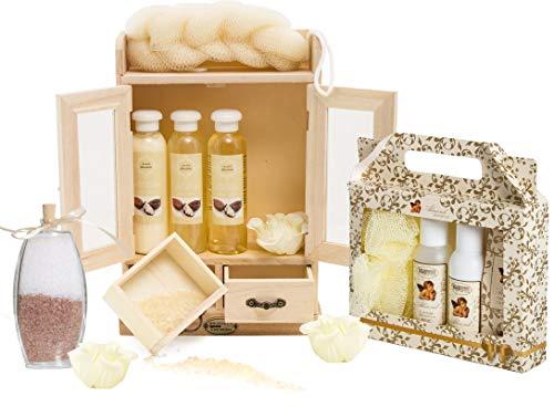 BRUBAKER set benessere beauty in comodo armadietto in legno – 15 pezzi al profumo di burro di shea e vaniglia