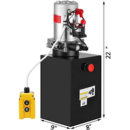 Happybuy Hydraulic Pump 12V DC Single Acting Hydraulic Power Unit 4 Quart Plastic Tank Hydraulic Pump Power Unit for Dump Trailer Car Lifting Truck 4 Quart Single Acting Plastic