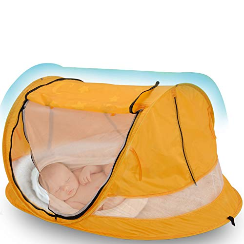 Baby Beach Tent, Yoego Large(53'x35'x23') Portable Baby Pop-Up Travel Tent, UPF 50+ Sun Shelters Shade, Baby Travel Crib with Mosquito Net, (No Pad)