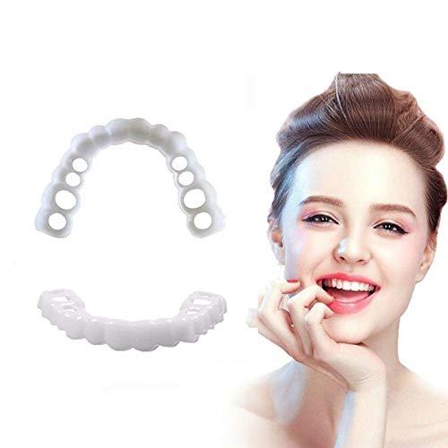 CJWY Provisorischer Zahnersatz Smile Veneers Teeth Prothese für Obere und Untere Zähne Sofortiges Lächeln Zähne Whitening Eine Grösse passt Allen