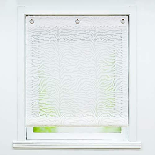 """Joyswahl Cortina de gasa con ojales, cortina transparente \""""Lea\"""", cortina con gancho para colgar, estor sin agujeros, 80 x 140 cm, color blanco, 1 unidad"""