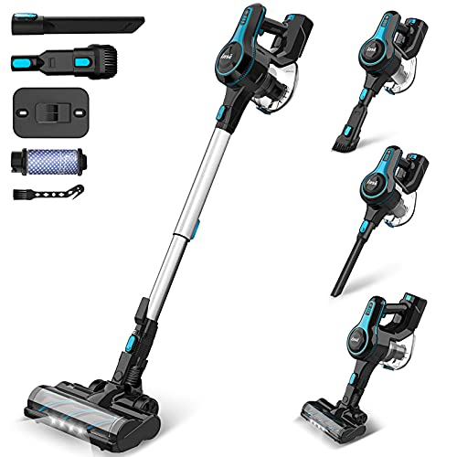 INSE Cordless Vacuum Cleaner Powerful Suction, 6-in-1 Lightweight Handheld Stick Vacuum, Up to 45 Mins Runtime, with Quiet Rechargeable Battery for Home Hard Floor Carpet Pet Hair Car - N5 Blue