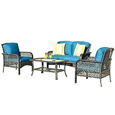 ovios 4 PCs Patio Furniture Sets All Weather Water-Resistant and UV Resistant Rattan Wicker Deep Seating Outdoor Sofa Conversation Set with Cushions,Table (Gray Wicker + Blue Cushion)