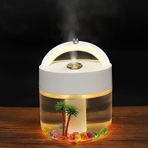 AVNICUD Humidificador USB de 1000 ml, portátil, con iluminación LED de hasta 20-50 m², difusor de aceite esencial con micro paisaje y filtro para coche, oficina, dormitorio