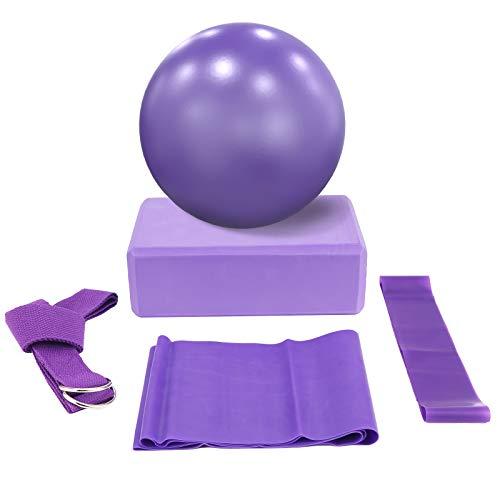 Ponacat Set de Yoga 5 Piezas: Incluye 1 Pelota de Yoga 1 Bloque de Yoga 1 Banda de Estiramiento de Yoga 1 Lazo de Resistencia Y 1 Cinturón Tejido de Yoga para Iniciador de Yoga