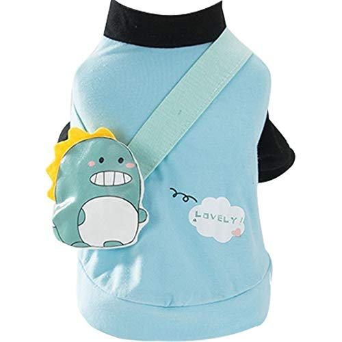 LNNUKc Puppy Cute Backpack T Shirt Summer Thin Section Breathable Bomei Cat Small Puppies Spring and Summer Clothes Clothing Pet Cat Doggie (Size : S)